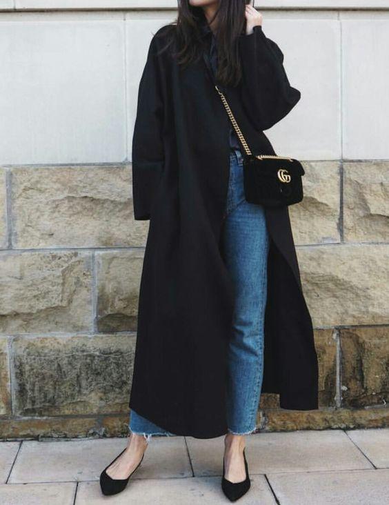 black duster skirt oversized