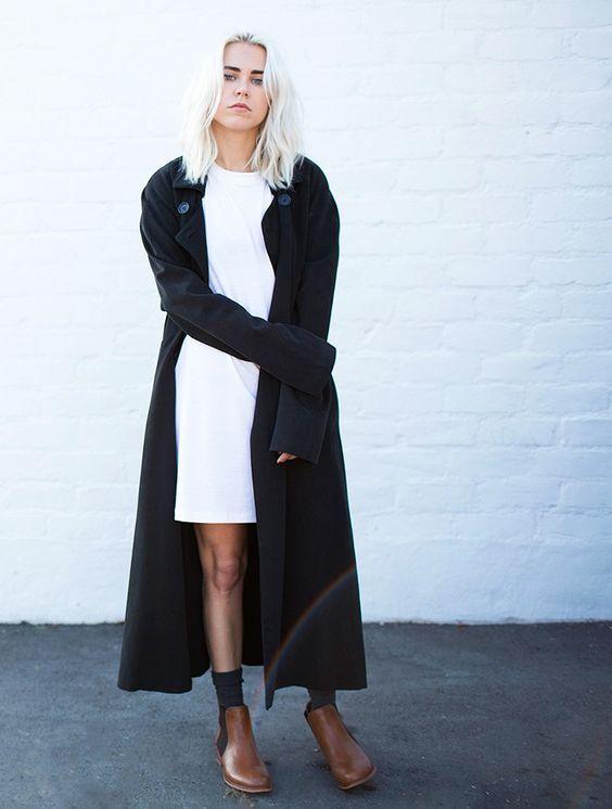 black duster skirt white dress