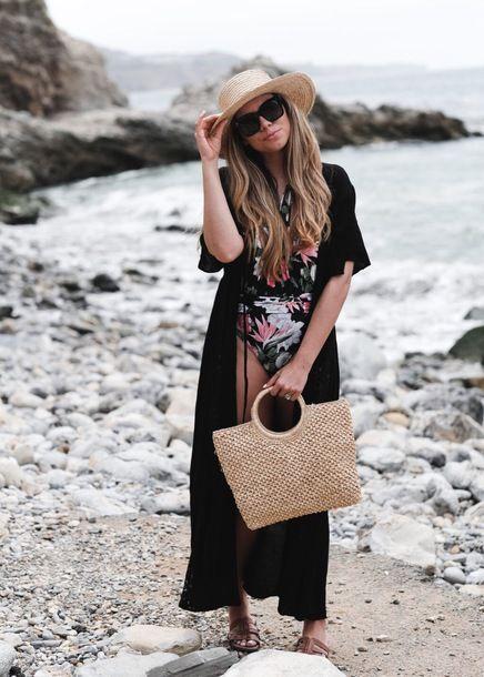 black duster skirt floral swimsuit
