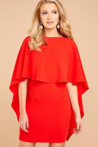 red weight shoulder ruffle mini bodycon dress