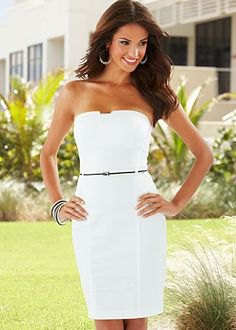 white belt tube mini bodycon dress