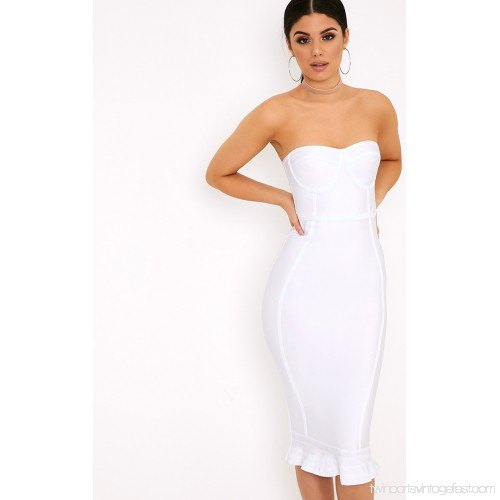 white strapless bodycon midi dress