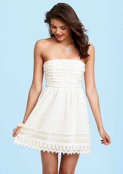 white strapless fit and flare mini lacing in peeled hem