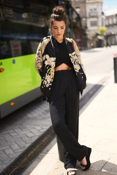 black and pink gold floral cotton jacket with crop top and wide leg trousers
