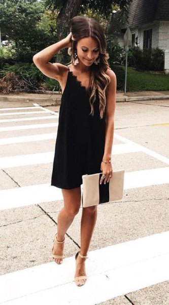 black peeled neckline dress
