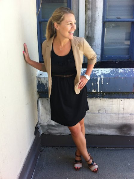 crepe blazer with black belt sundress