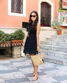 chiffon mini sundress with straw bag