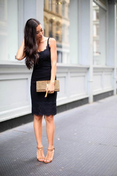 black scalloped neckline low dress sundress