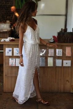 white v-neck gathered waist high split lace summer dress