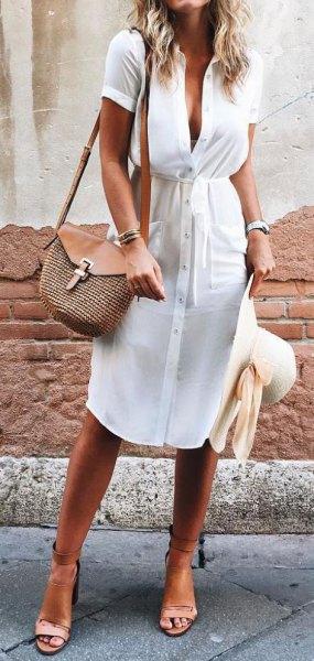 white button front midi summer dress