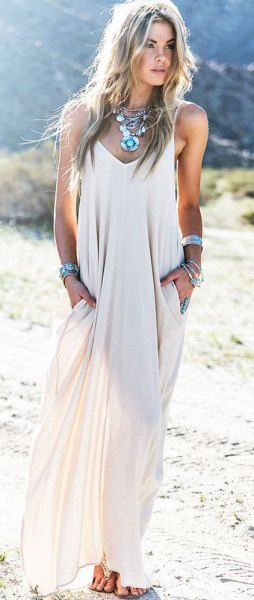 white semi pure chiffon maxi summer dress with boho necklace