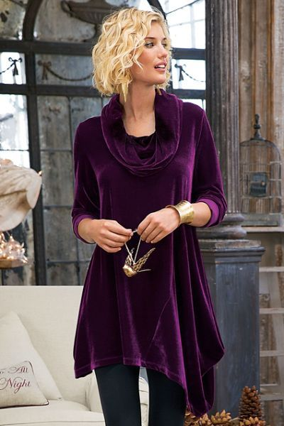 velvet tunic purple