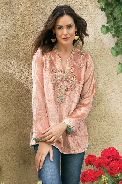 velvet tunic soft pink ornate