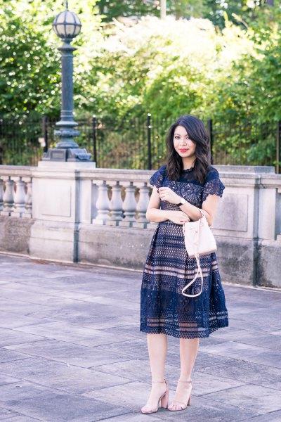 navy cap sleeve crochet midi flared dress