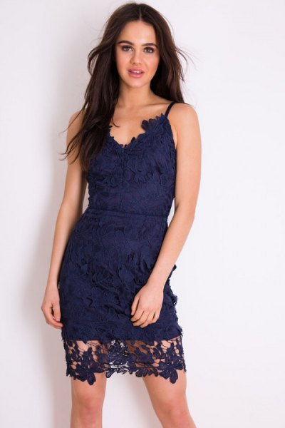 navy spaghetti strap sweetheart neckline lace mini dress