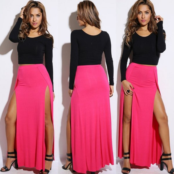 black long sleeve top with pink double slit maxi skirt