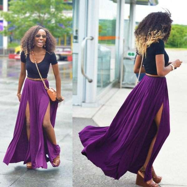 navy blue scoop neck tee with purple pleated maxi skirt with double slits