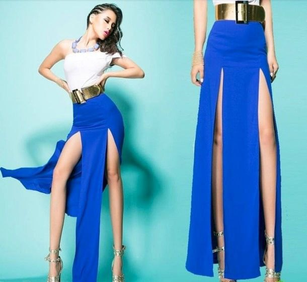white shoulder top with royal blue maxi skirt and gold belt