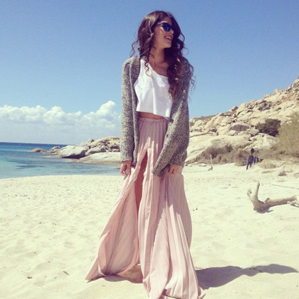 light gray pleated maxi dress with double slit with white crop top and cardigan