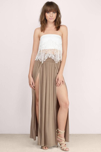 white lace top with crepe double split maxi dress