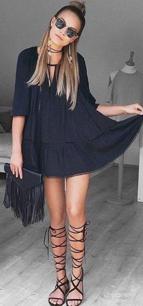 black half-heated tunic dress with gladiator sandals