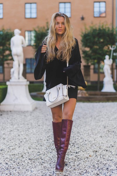 gray leather knee high boots white leather handbag