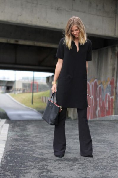black tunic dress with flared pants