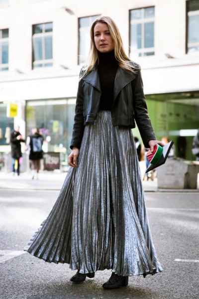 silver-wrapped skirt with black leather jacket
