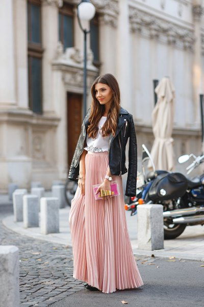 pink red pleated skirt with black leather jacket