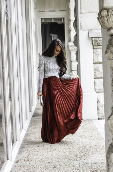 gray knitted sweater with green maxi skirt