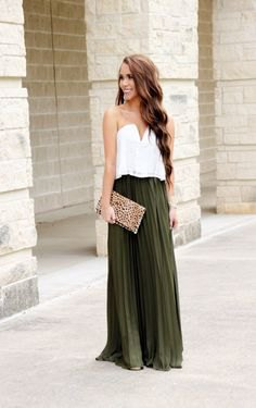 white sweetheart neck top with green maxi pleated skirt