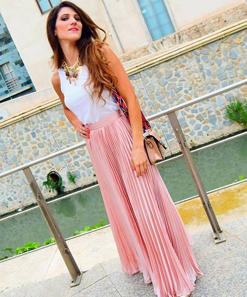white top with pink maxi skirt