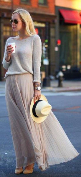 gray sweater with matching chiffon pleated maxi skirt