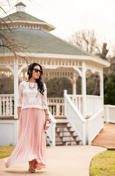 white lace in peeled hem with pink pleated maxi skirt