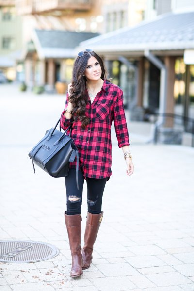 red and black plaid tunic with ripped skinny jeans and knee-high boots