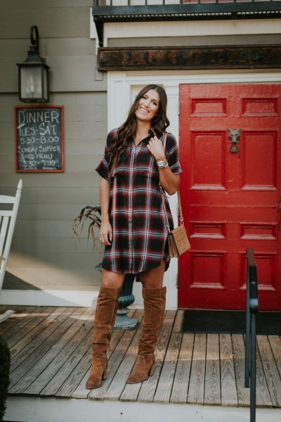 black and white checkered tunic with camel over the knee boots
