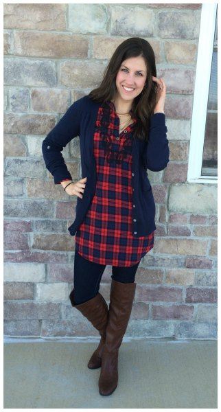 red and navy checkered tunic with deep blue cardigan