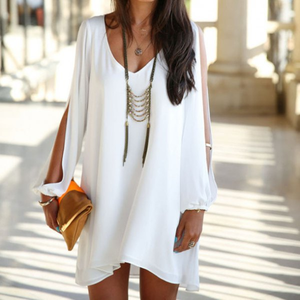white v-neck tunic dress with long neckline in boho style
