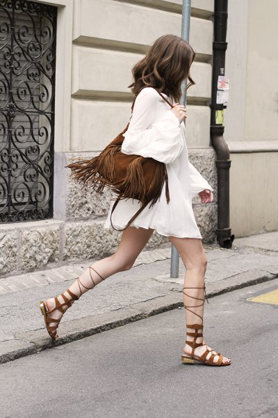 white long sleeve chiffon Tunic dress with gladiator sandals