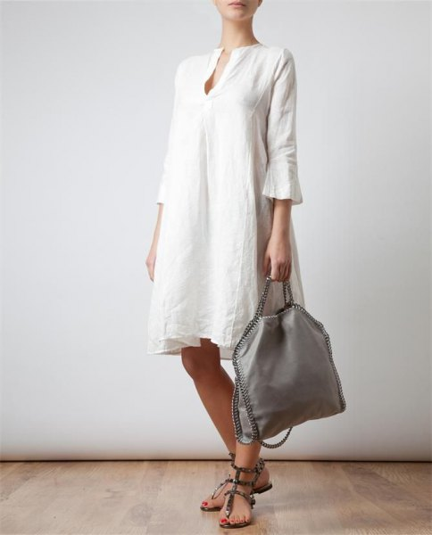 white watch sleeve linen knee length dress with sandals