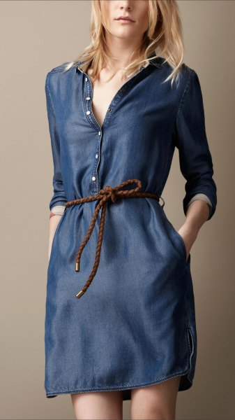 dark blue button front long long sleeved washed denim tunic