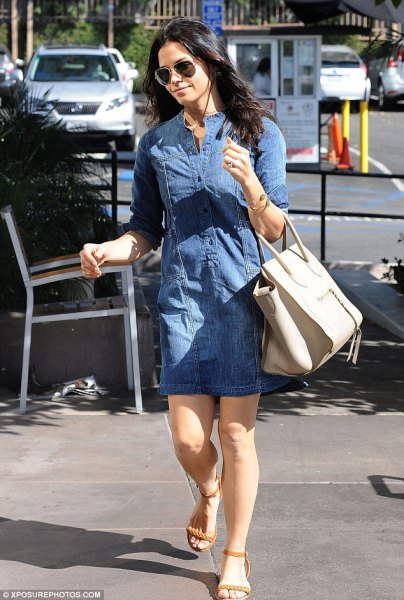 blue denim tunic with ivory leather handbag