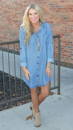 light blue long sleeve dress for denim shirt