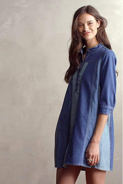 dark blue tunic dress for denim patch