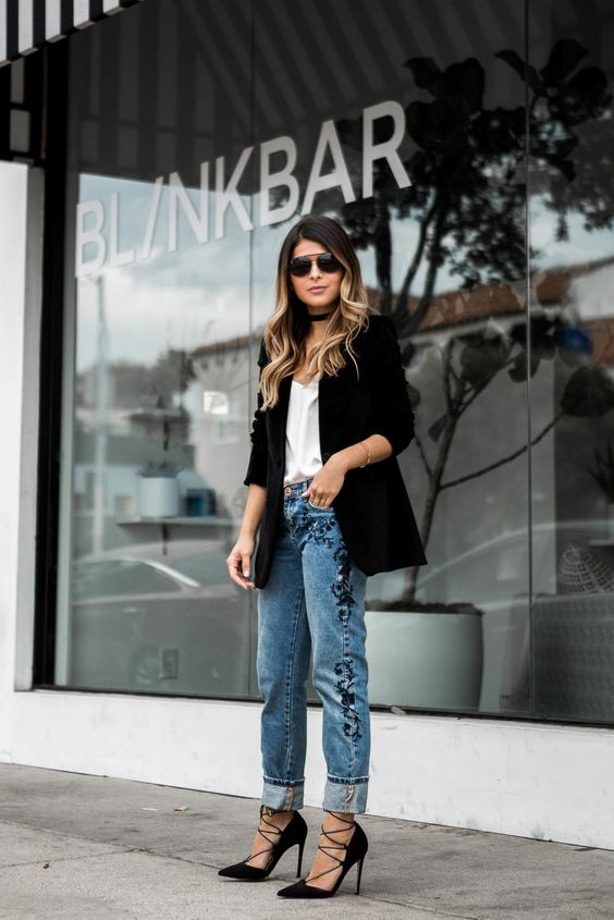 black lace heels embroidered jeans