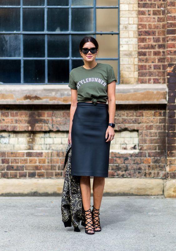 black lace up heels pencil skirt