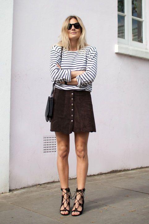 black lace heels suede skirt