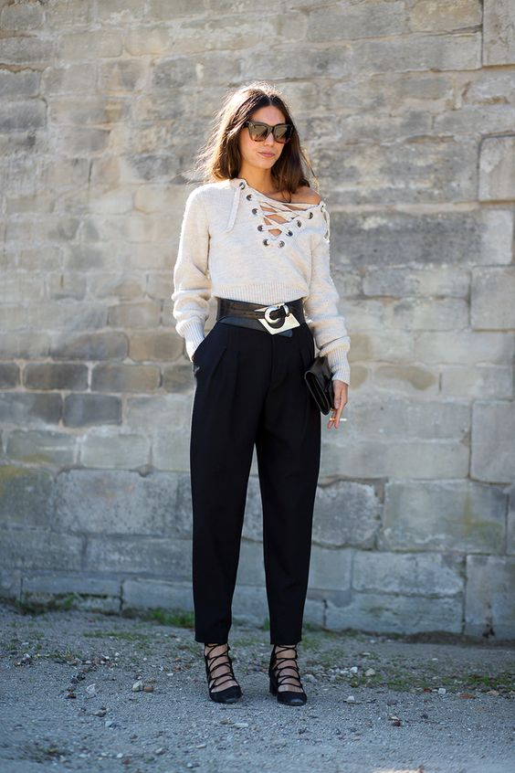 black lace up heels white sweater