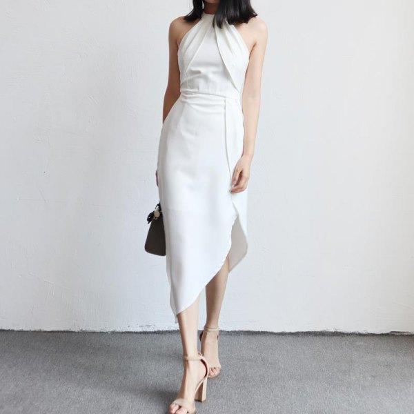 white halter neck gathered waist asymmetrical tulip dress