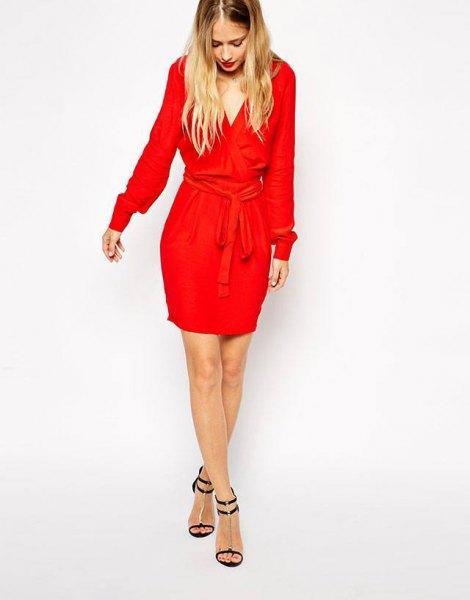 red long sleeve tie waist mini wrap dress